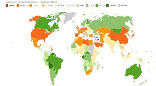 Dünyanın üretebileceği miktar şimdiden tüketildi-haritası-