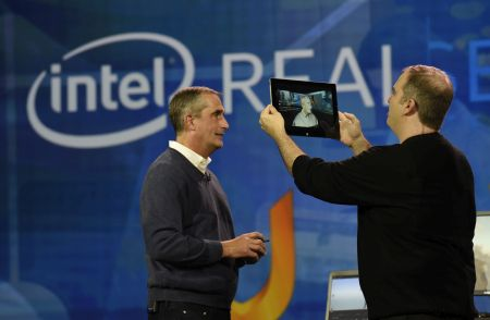 In this photo released by Intel Corporation, Brian Krzanich, Intel's Chief Executive Officer, shows how Intel is helping gamers personalize their experiences. Krzanich, who made this demonstration during his keynote presentation at the 2016 International CES (Consumer Electronics Show) on Tuesday, January 5, 2016 in Las Vegas, used a tablet enabled by Intel's RealSense™ Technology and Uraniom software to scan himself in 3D and then import the render to customize his in-game character in Fallout 4. CES is one of the world's largest gathering places for all who thrive on consumer technologies and will run from January 5-9, 2016 in Las Vegas. (Photo by Intel Corporation/Bob Riha, Jr.)