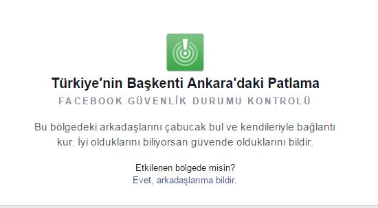 facebook güvendeyim butonu